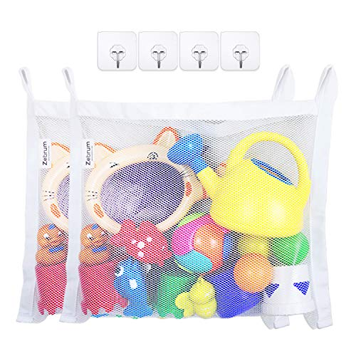 2 Pack Bath Toys Organizers, Zebrum Mold Proofing Toy Net, Large (45 x 35 cm) Strong Storage Mesh Bag with 6 Bonus Quality Suction Hooks (White)