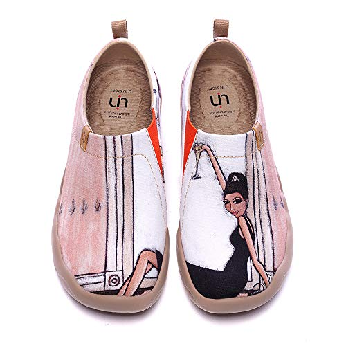 UIN Women's Lightweight Slip Ons Sneakers Fashion Flats French Lady Casual Art Painted Travel Shoes The Little Dress (38)
