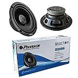 2 PHONOCAR SELECTION 02086 Altavoces woofer 16,50 cm 165 mm 6,5' de diámetro 70 vatios rms 180 vatios MAX par impedancia 4 ohmios 92 db spl Coche Negro, un par