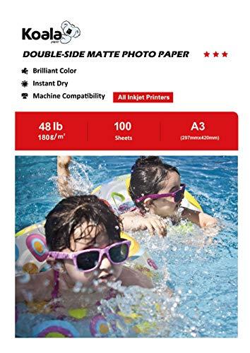 KOALA Papel Fotográfico de Doble cara Mate para Inyección de Tinta A3, 180 g/m², 100 hojas. Adecuado para imprimir Fotos, Portadas, Certificados, Folletos, Volantes, Tarjetas, Calendarios, Artes