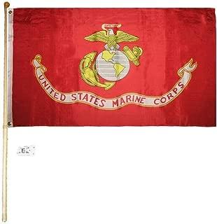 Ant Enterprises 5' Wood Flag Pole Kit Bracket with 3x5 United States Marine Corps EGA USMC Flag