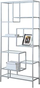 "Monarch Bookcase, 72"", Silver/Clear Glass"