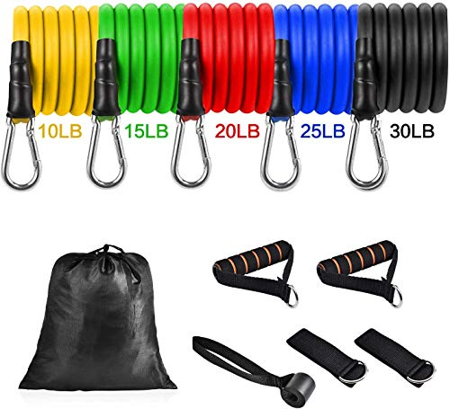 Resistance Band Set - Workout Exercise Bands for Women Men - Portable Home Gym Accessories - Resistance Bands with Handles,Door Anchor, Ankle Strap, and Carrying Case for Full Body Exercise