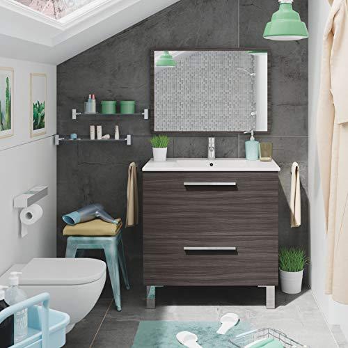 MarinelliGroup Mobile Bagno 80 cm con lavabo in Ceramica e Specchio con cassetti Rovere Scuro Petalo