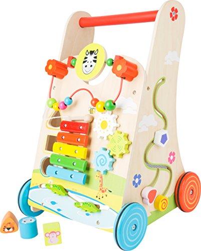 small foot 10606 Lauflernwagen Blumenwiese, aus Holz, mit vielseitigem Spielspaß für Kinder ab 2 Jahren