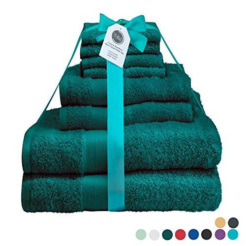 Midland Beddings - Set di 8 Asciugamani in Cotone, 400 g/mq, Colori Assortiti Teal