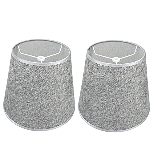 Grey Lamp Shade for Table Lamp, Fabric Lampshades Set of 2, Small Lamp Shade for Floor Light, 6.3x9.8x7.8 inches, Natural Linen Hand Crafted, Spider Model (Grey)