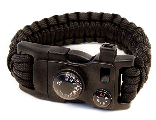 Outdoor Saxx® - 15-in-1 Outdoor Paracord Überlebens-Armband, Kompass, Thermometer, Pfeife, Schrauben-Dreher, Schrauben-Schlüssel, Messer, schwarz (Misc.)