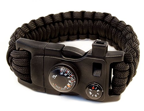 Outdoor Saxx® - 15-in-1 outdoor paracord survival-armband, kompas, thermometer, fluitje, schroevendraaier, schroevendraaier, messen, zwart