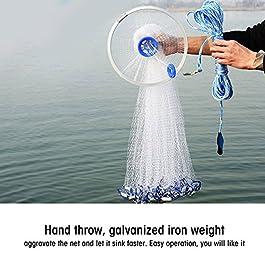 GOTOTOP Filet de pêche à la main en nylon monofilament style américain