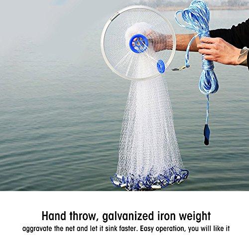 AYNEFY Fischernetz,Angeln Mesh Net Outdoor-Fischernetz Nylon mit Durchmesser Handschlaufe und Ring Outdoor Erweiterbar Angelnetz Nylon Gaze Netz Tragbares Falt Fangnetz (3.6m)