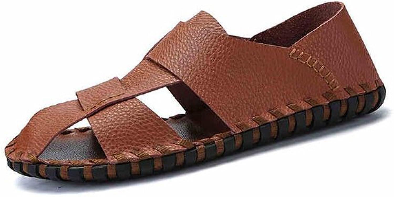 MuMa Männer Leder Sandalen Geschlossene Zehe Bequeme Schuhe Mode Mode Mode Strand Sommer Outdoor Schuhe (Farbe   braun)  314350