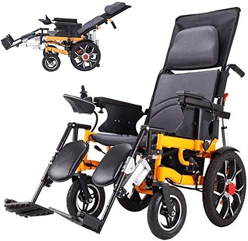 Silla de ruedas eléctrica con reposacabezas, doble función, silla de ruedas plegable (batería de ion de litio de 20 Ah), sillas de ruedas ligeras y portátiles para personas mayores y discapacitadas