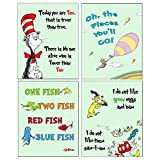 Dr Seuss 4 pack ART Prints - Kids Baby Room Decor (Green)