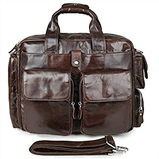 J.M.D Mens Top Genuine Leather Handmade Briefcase Business Bag Travel