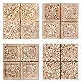 Aplique tallado de madera tallado sin pintar a cuadros calcomanía para muebles de la puerta del gabinete decoración 4pcs (3#)
