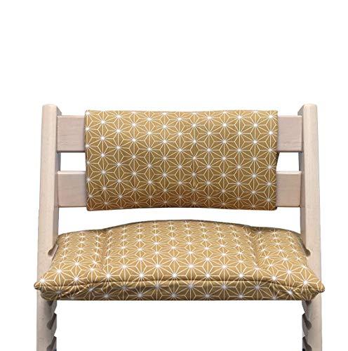 Blausberg Baby - Sitzkissen Kissen Polster Set Junior *31 FARBEN* für Tripp Trapp ohne Schlitz im Sitzkissen - alle Materialien OEKO-TEX® Standard 100 zertifiziert (Happy Star Gelb)