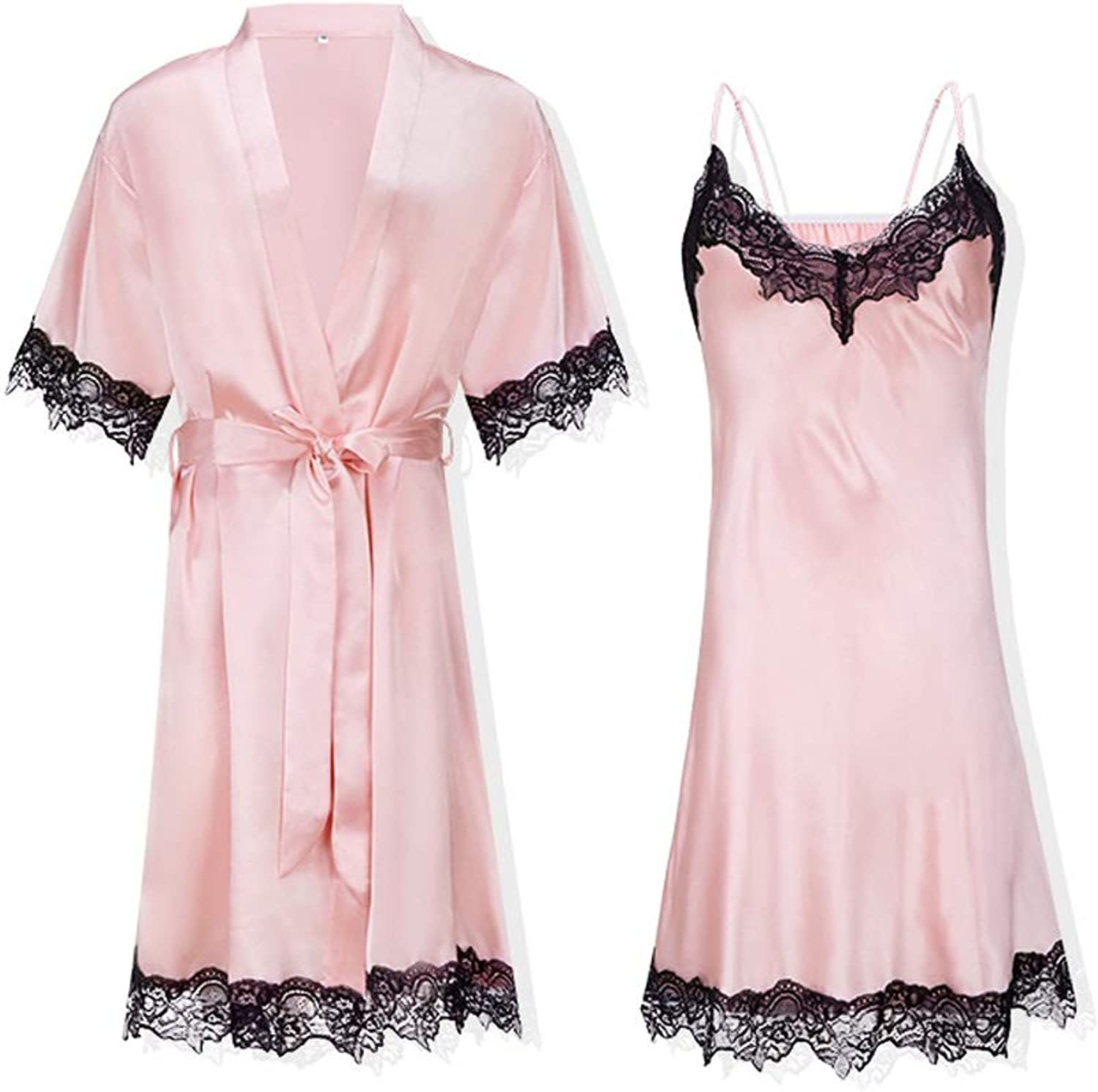 Home Service Women Simple European Style TwoPiece Nightdress Summer Ice Silk Sexy Bathrobe Spring and Autumn Thin Nightdress Lace Gathered Strap Nightdress (color   Pink, Size   L)