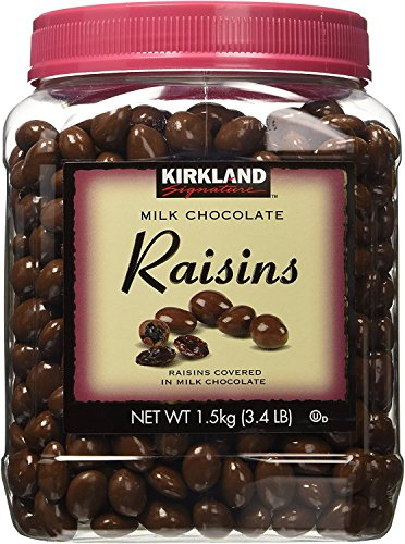 KIRKLAND SIGNATURE fuqUUZ chocolate con leche, pasas, 58 onzas