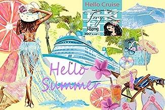 Beach Accessories - Nautical Clipart, Cruise Vacation Clipart, Beach Clipart. Summer Girl Tropical Sailor Sea Boat Palms beach accessories Candy Planner