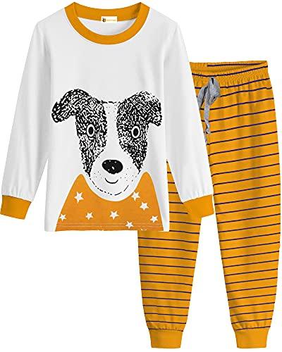 MOLYHUA Jungen Mädchen Schlafanzug Lang Zweiteiliger Schlafanzug für Baby Mädchen Kinder Langarm Pyjama Baumwolle Nachtwäsche 92 98 104 110 116 122