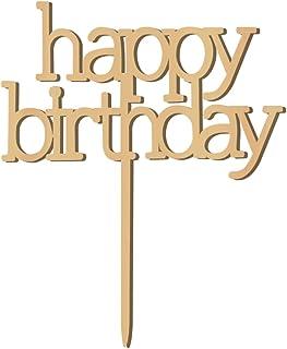 WINOMO Birthday Cake Topper Happy Birthday aus Holz Tortenaufleger Kuchendekoration Gold Geburtstag Kuchen Topper Dekorationen