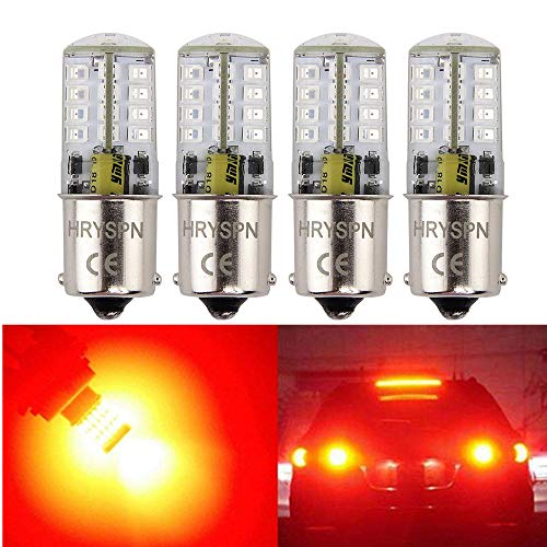 1156 1141 1003 7506 Brilliant Red 5W BA15S Super Bright LED Bulb, 35W equivalent, AC/DC12V, for Rv Tail, Brake Lights Turn Signal Blinkers (4Pack) (Red)