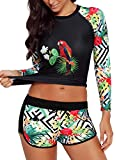 Runtlly Womens Long Sleeve Rash Guard Swimsuit Sun Protection Sport Wetsuit Two Piece Swimsuit Set S-XXXL LS910501 M Black