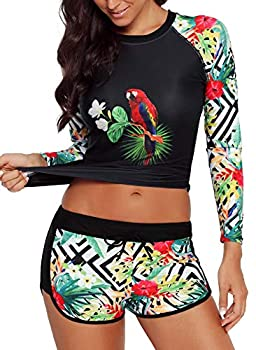Runtlly Womens Long Sleeve Rash Guard Swimsuit Sun Protection Sport Wetsuit Two Piece Swimsuit Set S-XXXL LS910501 S Black