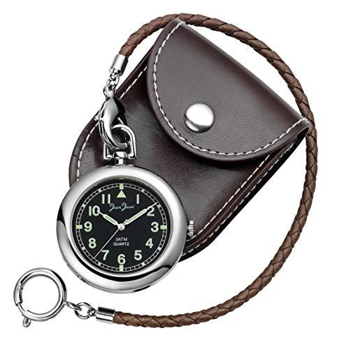JEAN JACOT C337731 - Reloj de bolsillo - Accesorio atemporal para hombre cultural - Caja cromada - Movimiento de cuarzo - Incluye cadena de piel y funda de piel - Diámetro de la caja: 43 mm