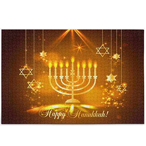 Oarencol Happy Hanukkah Shining Stars Jigsaw Puzzle 500 Pieces Puzzles for Adults Kids
