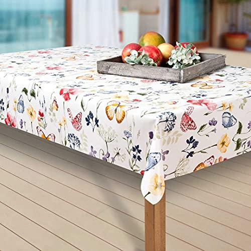 laro Wachstuch-Tischdecke Abwaschbar Garten-Tischdecke Wachstischdecke PVC Plastik-Tischdecken Eckig Meterware Wasserabweisend Abwischbar AQ, Muster:Blumen. Schmetterling/bunt, Größe:100-200 cm