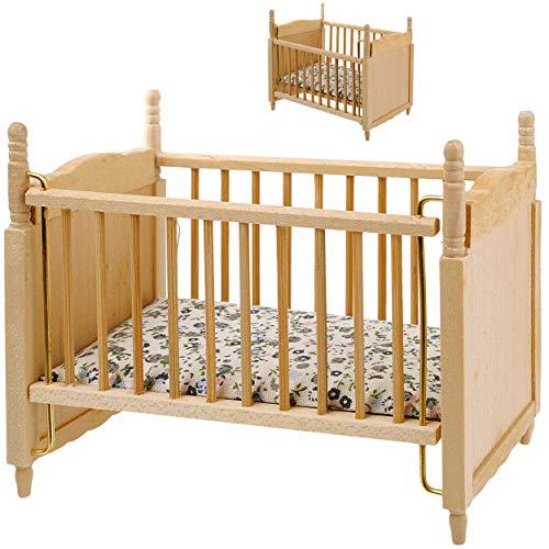 alles-meine.de GmbH Miniatur - Holz - Kinderbett / Bett - Babybett - Maßstab 1:12 - Puppenstube / Puppenhaus - Gitterbett - Puppenbett - Puppe - Kinderbettchen - Kinderzimmer - S..