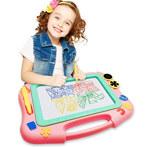 FONLLAM Updated Magnetic Drawing Board - Kids Magna Drawing Doodle Board - Toys for Toddlers Girls, Boys, Erasable Sketch Pad for Writing Painting (Pink)