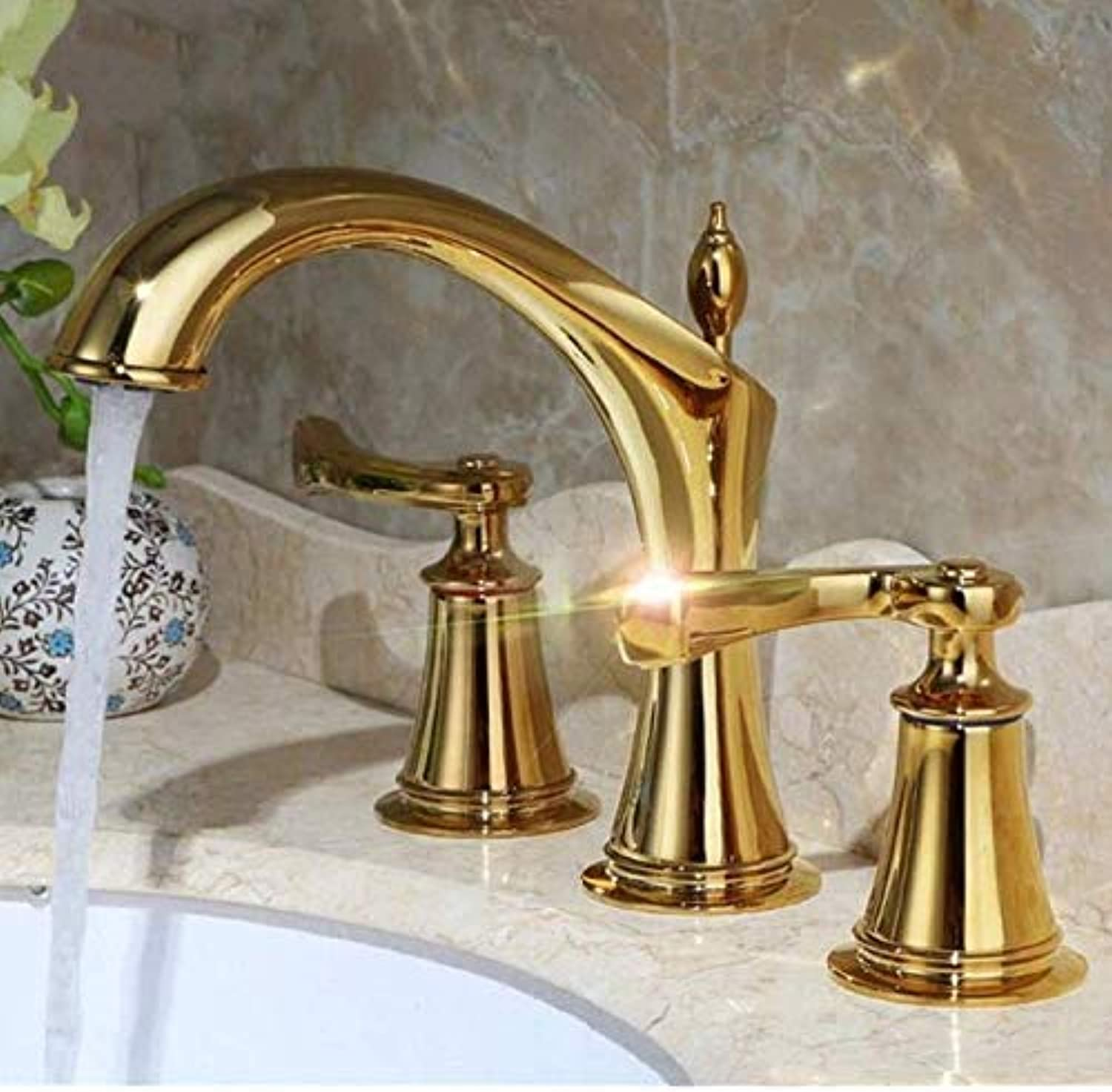 BABATD Faucet Washbasin Mixer Chrome and gold Brass 2-Handle Widespread Bathroom Sink Faucet Lavatory Faucet Mixer Double Handle Tap Deck Mounted