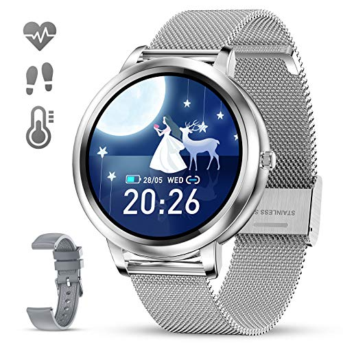 """GOKOO Smart Watch for Women Bluetooth Fitness Tracker with Heart Rate Sleep Blood Pressure Monitor Calories Pedometer Sports Activity Tracker Smartwatchs Waterproof 1.09"""" Full Touch (Silver)"""
