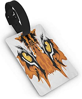 Tiger Eyes Graphic Mascot Animal Face Bengal Cat African Safari Predator Theme Luggage Tags for Women And Men, Baggage Tag Suitcase Label for Travel