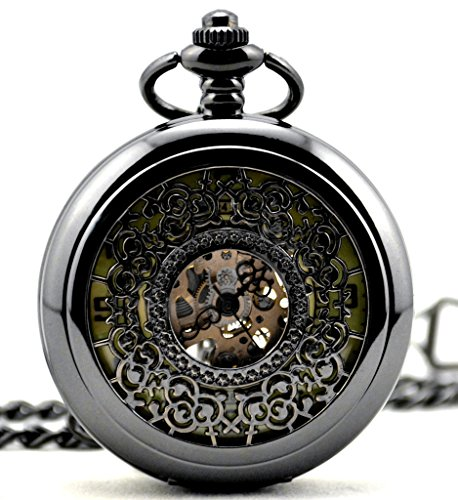 Unendlich U Quadrante luminoso, numeri arabi a carica manuale, orologio meccanico da tasca con scheletro cavo, orologio da polso e collana, 7 opzioni e base metal, colore: Quadrante luminoso C, cod. IUP407-C