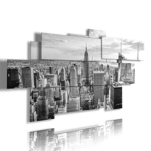 duudaart Quadro New York 29 multilivello 3D Camera da Letto Pannelli in Legno Multistrato Skyline Moderni