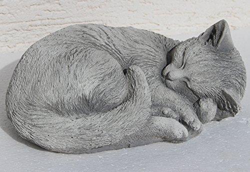 Unbekannt Beton Figur Katze seitlich liegend H 10 cm Dekofigur Gartenfigur Gartenskulptur