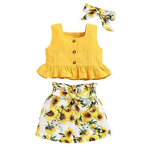 ANUFER 3 Piezas Niña Conjuntos de Ropa Brillante Amarillo Girasol Bebé Trajes Tops de Chaleco + Pantalones Cortos + Venda SC601C002 6-7 Años