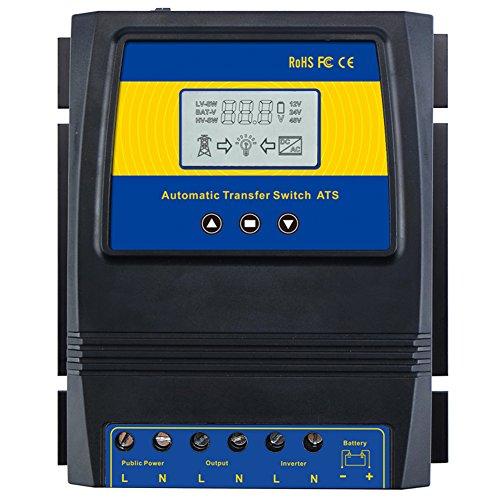 MOES Dual Power Controller 50A 5500 Watt Automatic Transfer Switch for Off Grid Solar Wind System ATS DC 12V 24V 48V AC 110V 220V.
