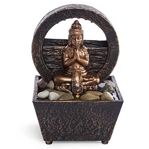 Newport coast collection Tranquil Buddha Tabletop LED Fountain Small Dual Power
