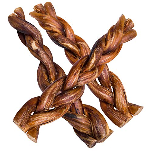 bully sticks elks hotspot pets Braided Bully Sticks for Dogs - Premium All Natural Long Twisted Beef Pizzle Dog Chew Treats - Grain Free Fully Digestible Rawhide Alternative - 6 Inch Stix (5 Pack)