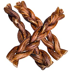 hotspot pets Braided Bully Sticks for Dogs – Premium All Natural Long Lasting Twisted Beef Pizzle Dog Chew Treats – Grain Free Fully Digestible Rawhide Alternative – 6 Inch Stix (20 Pack)