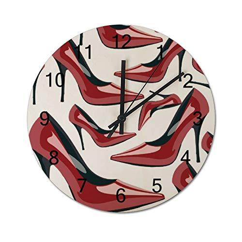 Free Brand Clocks 30,5 cm Damen High Heel Schuh Clip Kunst Dekor Holz Wanduhr nicht tickend hängende Uhr rund für Geschenk Home Office Kinderzimmer Wohnzimmer Schlafzimmer