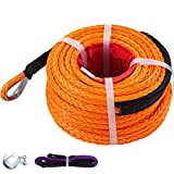 VEVOR Synthetic Winch Rope 3/8' x 100ft, Winch Cable with G70 Hook 18740 Lbs Working Strength, 12 Strands, Synthetic Winch Cable w/Protective Sleeve, for Vehicles Towing, Orange