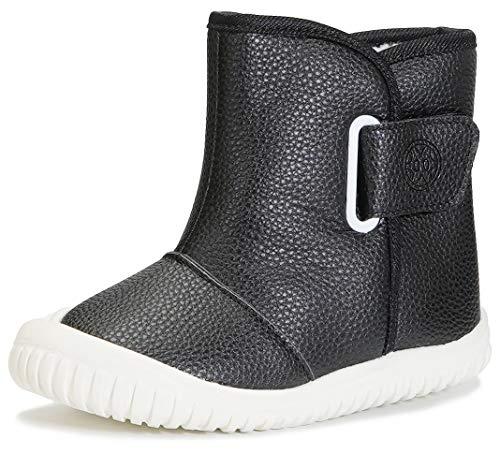 Gaatpot Niemowlęta chłopięce buty zimowe ze skóry PU buty wsuwane buty dziecięce z ciepłą podszewką, buty dla małych dzieci 21-30EU, - czarny nowy - 23 EU