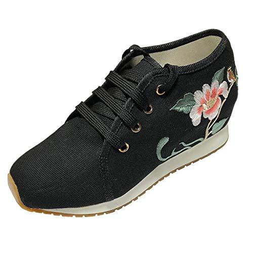 Madmoon Damen Freizeitschuhe Stickerei Blumen Sport-& Outdoor Walking Schuhe Frauen Retro Sticken schnüren Sich Oben Keil-runde Kappe beiläufige Segeltuch-Schuhe