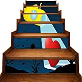 Pegatinas decorativas para escaleras de cocina, baño, submarinos, ballenas y cangrejos, color azul, Azul -07, 7'x39.3'x6pcs